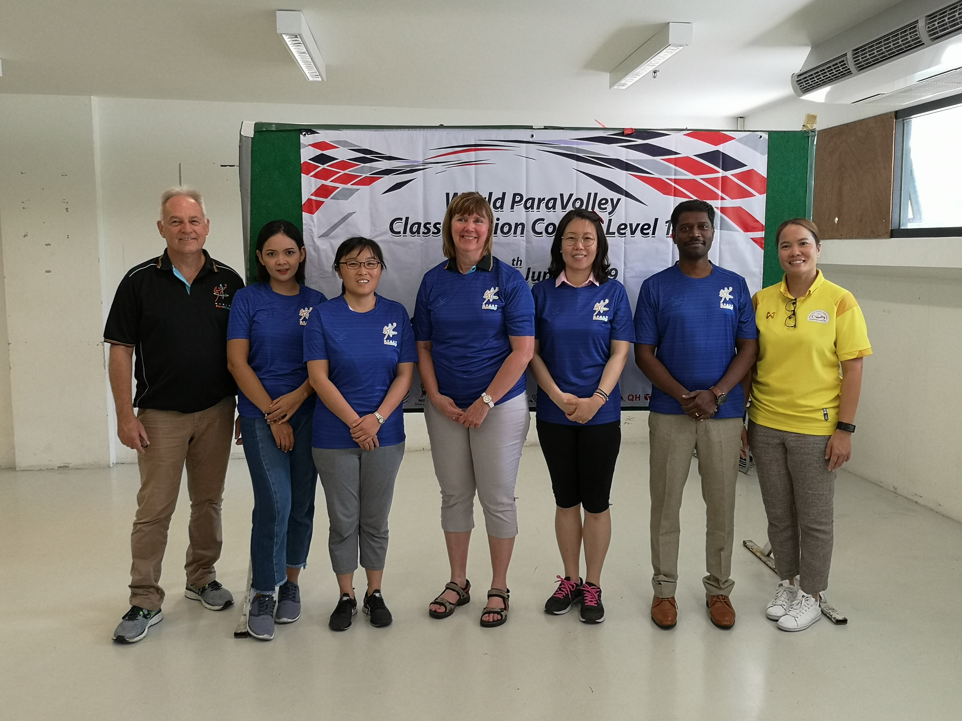 Technical Delegate Glenn Stewart, instructor Louise Ashcroft and tournament director Ann Makheeta with the participants of the Level I Classification Course in Bangkok, Thailand